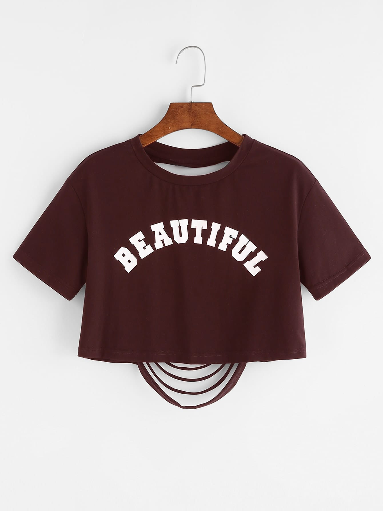 Letter Print Ripped Back Crop T-shirt brick red letter print t shirt