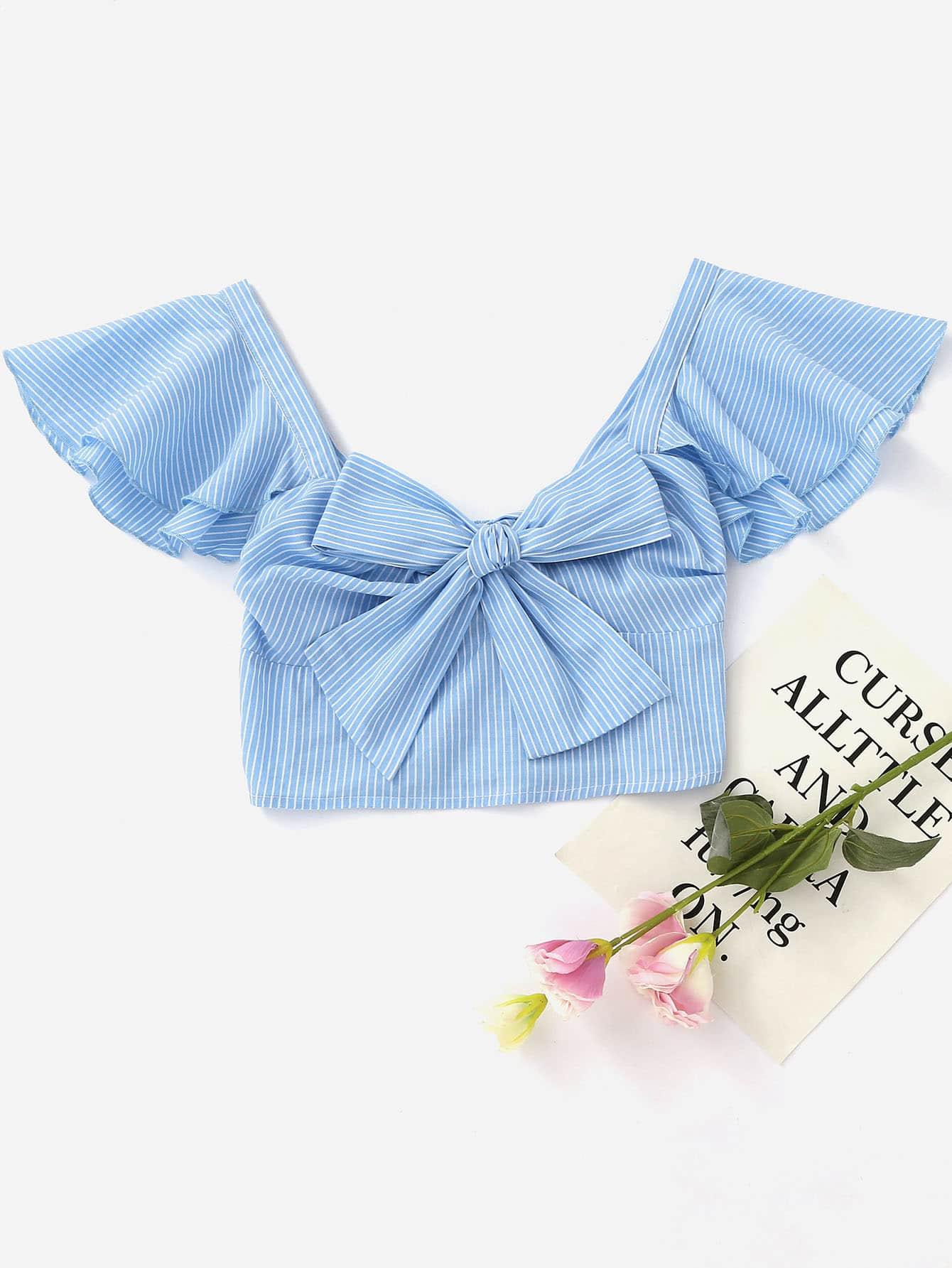 Фото Flutter Sleeve Bow Front Smocked Bustier Top. Купить с доставкой
