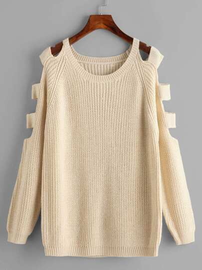 Laddered Cutout Raglan Sleeve Jumper