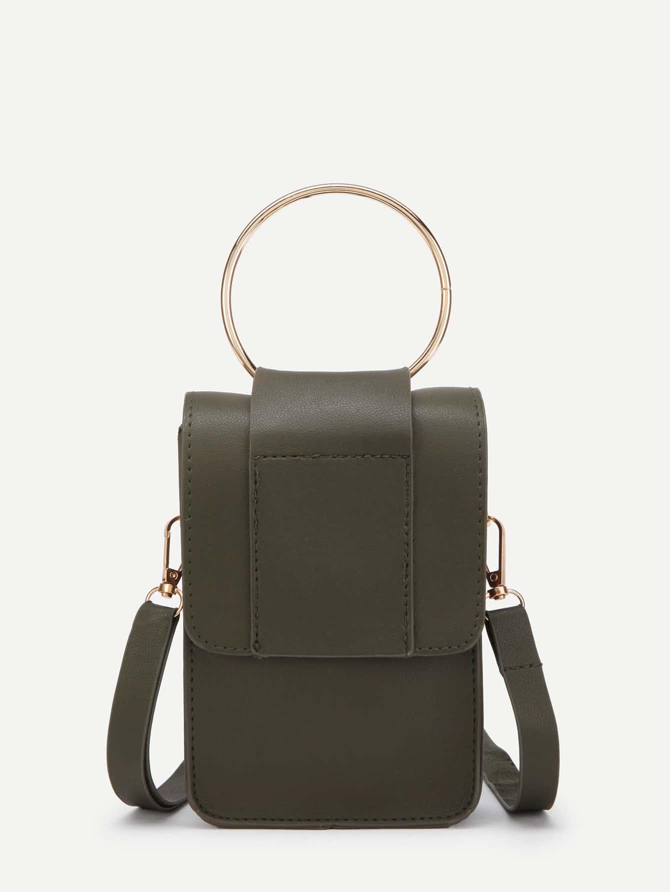 Фото PU Flap Pouch Bag With Ring Handle. Купить с доставкой