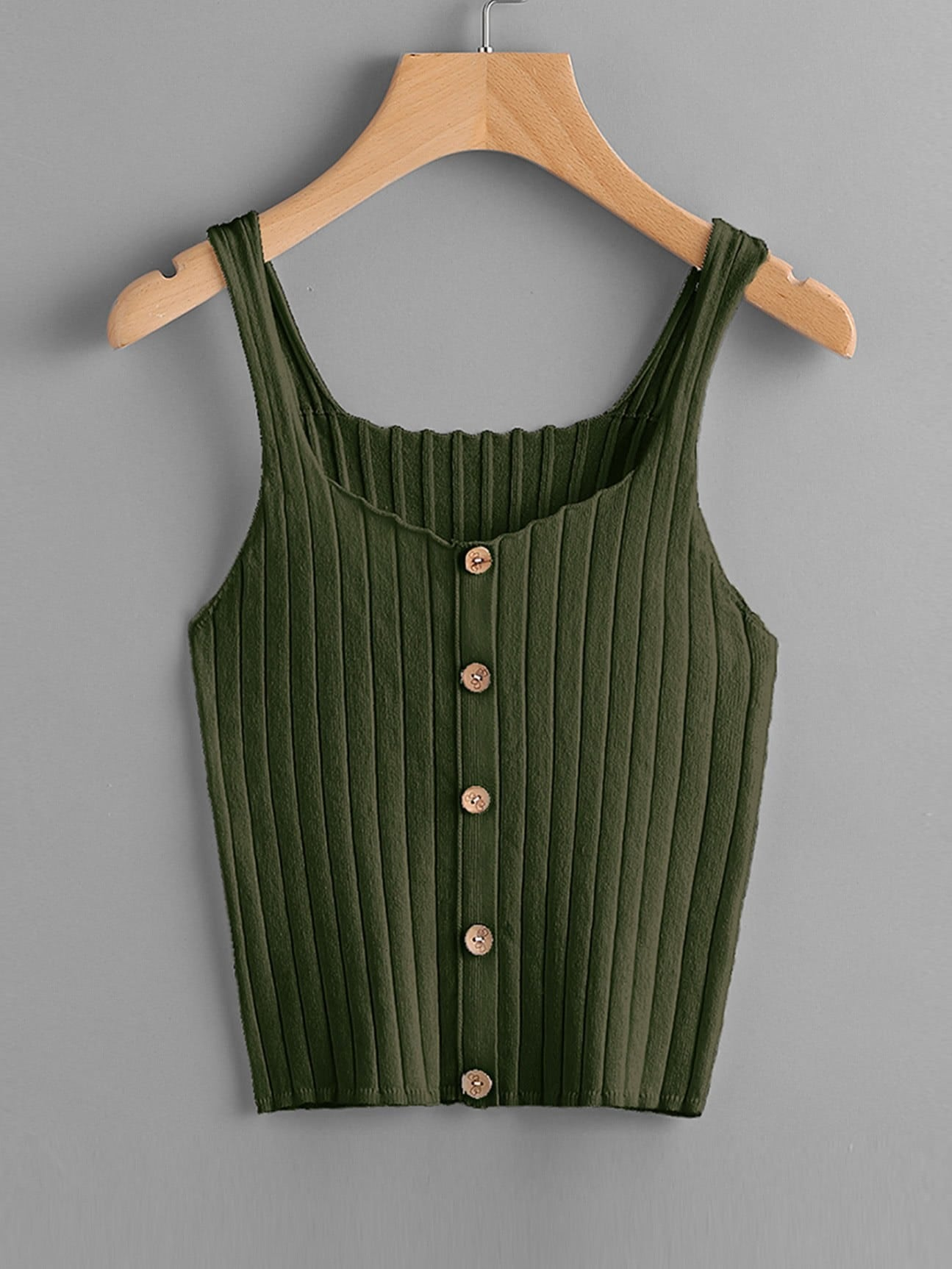 Button Up Rib Knit Top vest170721451