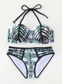 Conjunto de bikini en contraste con tirante trenzado