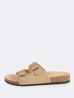Double Buckle Nubuck Slides NATURAL