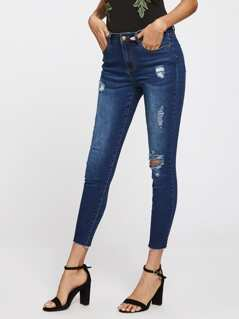 Ripped Raw Cut Hem Jeans