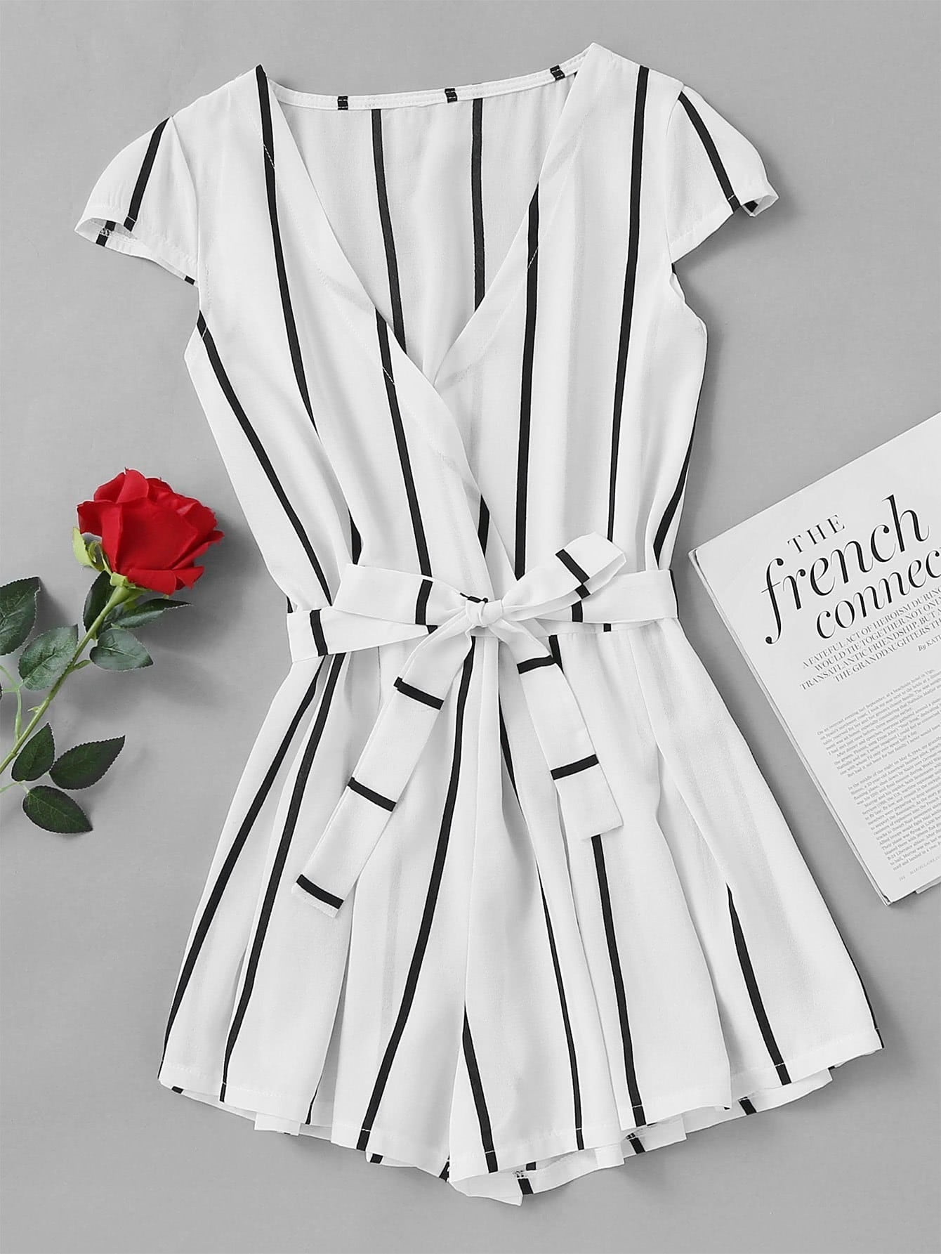 Vertical Striped Surplice Romper With Belt RJUM170713107