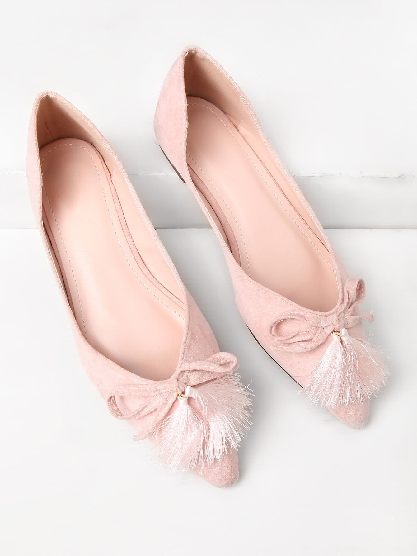 Фото Tassel Bow Tie Detail Pointed Toe Flats. Купить с доставкой