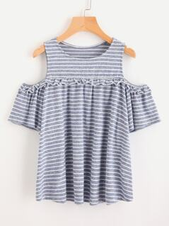 Marled Knit Open Shoulder Striped Tee