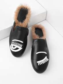 Eyelash Pattern PU Flat Mules With Faux Fur