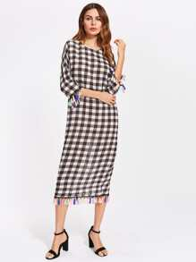 V Cut Back Tassel Trim Checkered Cocoon Dress