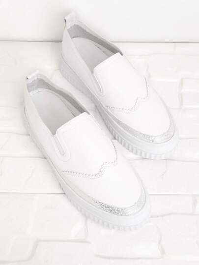 PU Round Toe Slip On Plimsolls
