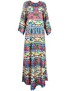 Tribal Print Split Maxi Dress