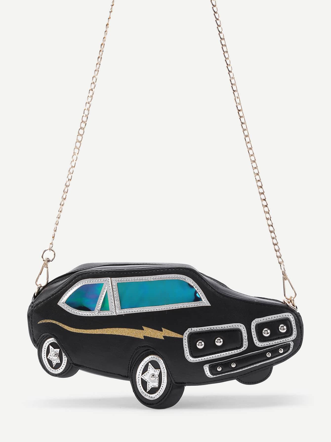 Фото Car Shaped PU Crossbody Bag With Chain. Купить с доставкой