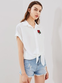 Rose Patch Cuffed Sleeve Knot Front Dolman Blouse pictures