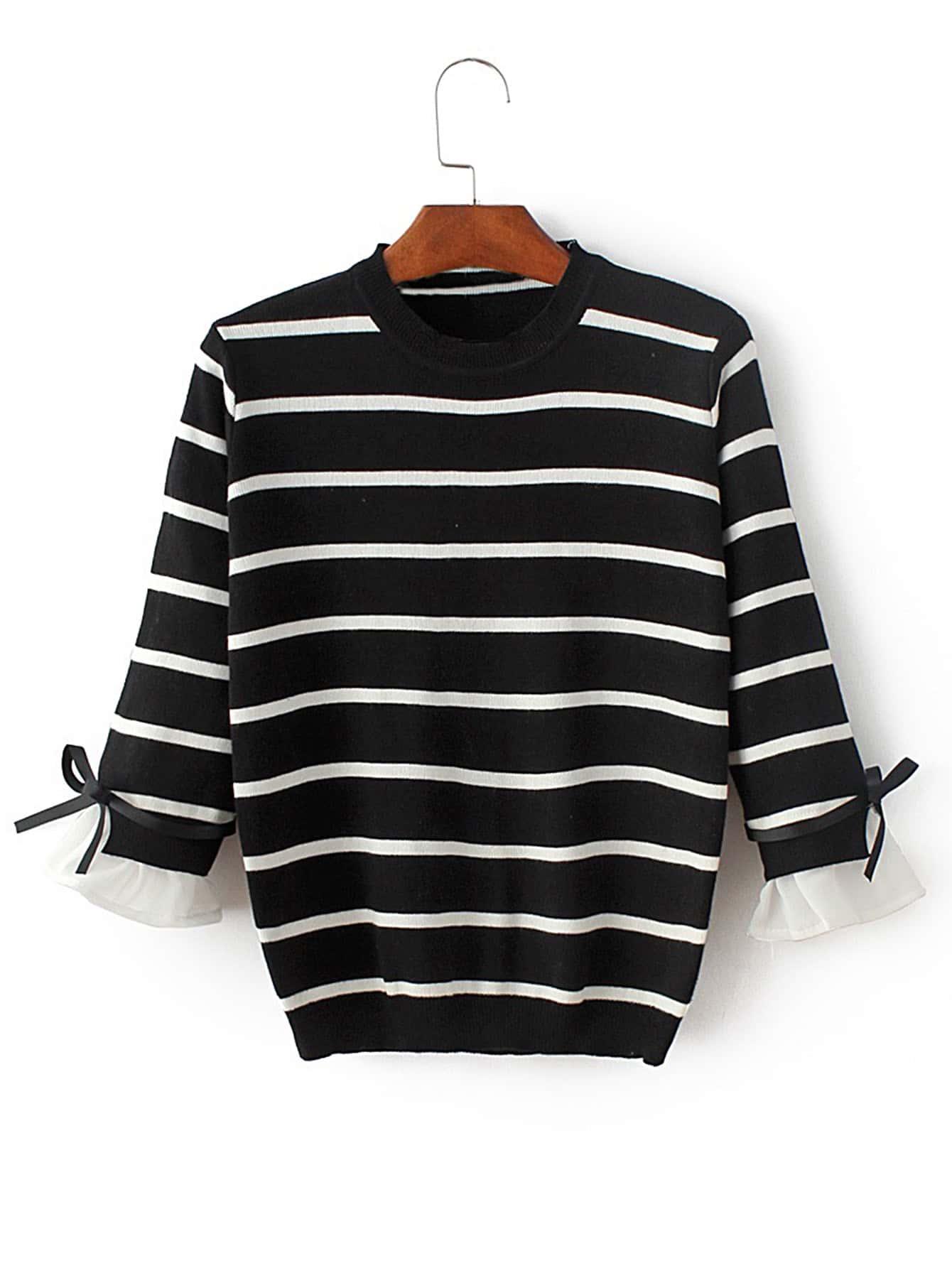 Contrast Cuff Tie Detail Knitwear sweater170712201