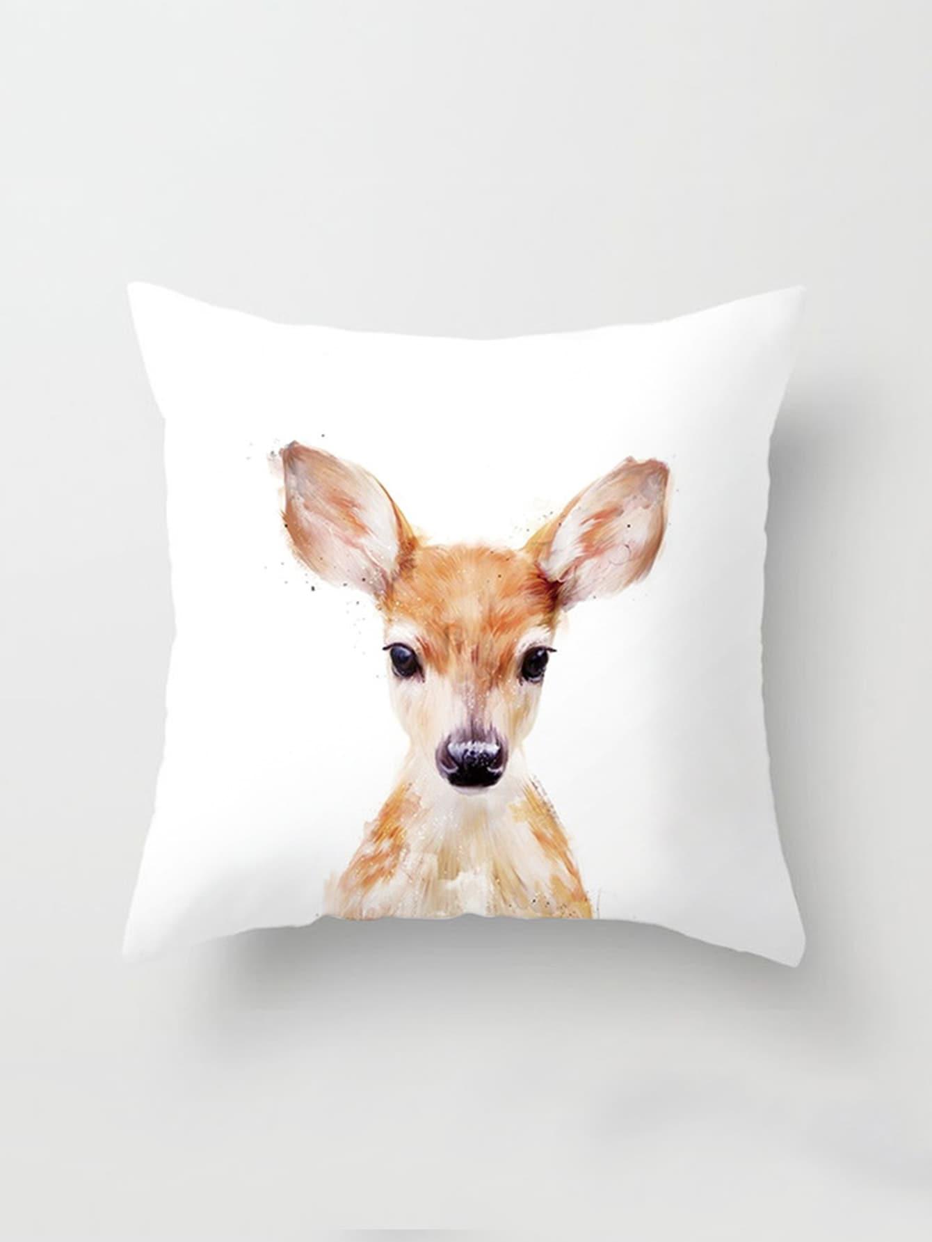 Watercolor Deer Print Cushion Cover