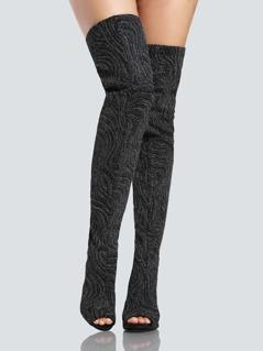 Glitter Open Toe Cutout Thigh High Boots BLACK