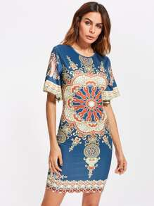 Ornate Print Flutter Sleeve Dress