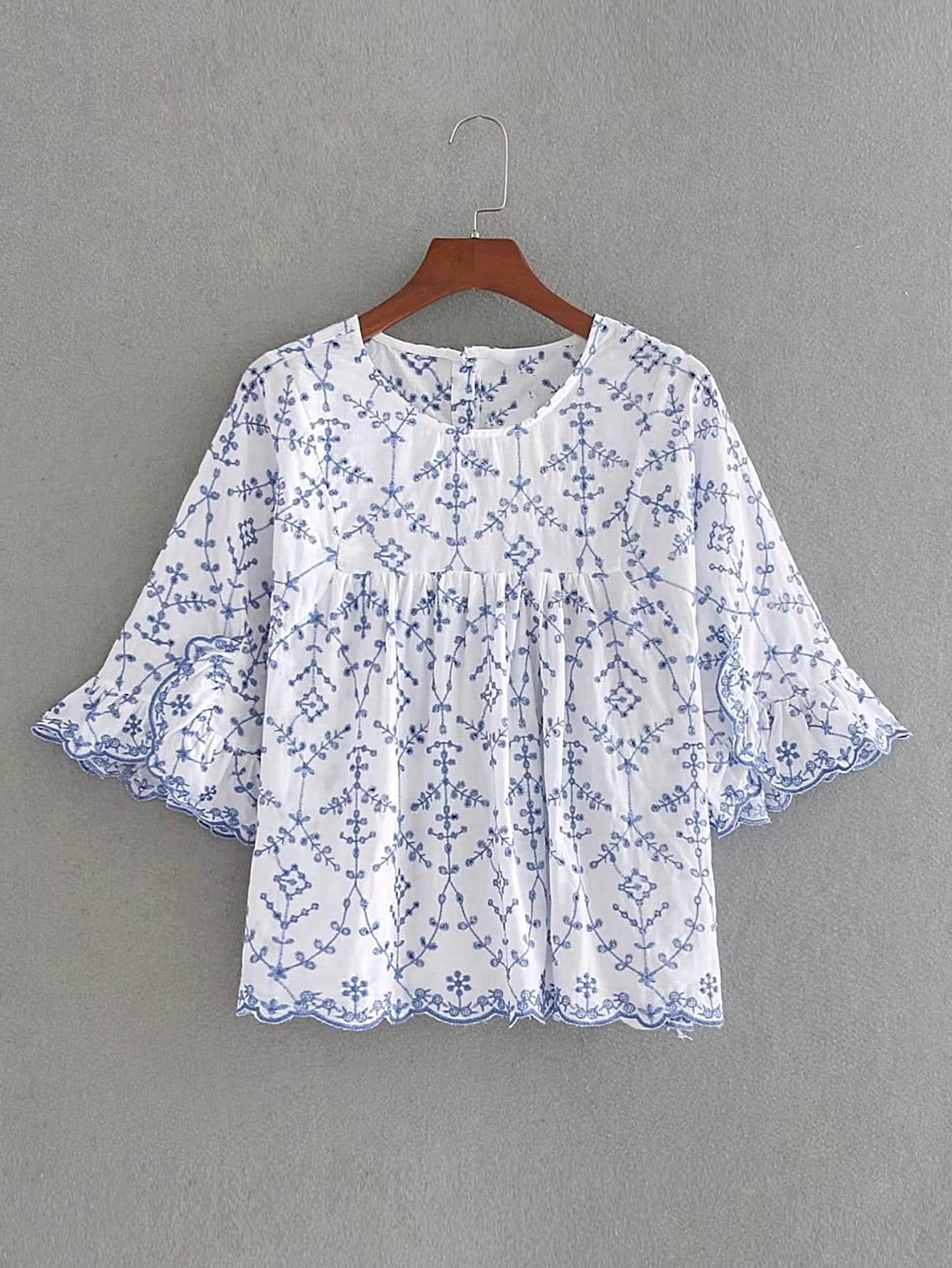 Фото Bell Sleeve Wave Trim Embroidery Smock Top. Купить с доставкой