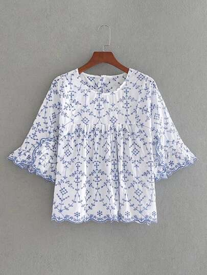 Bell Sleeve Wave Trim Embroidery Smock Top