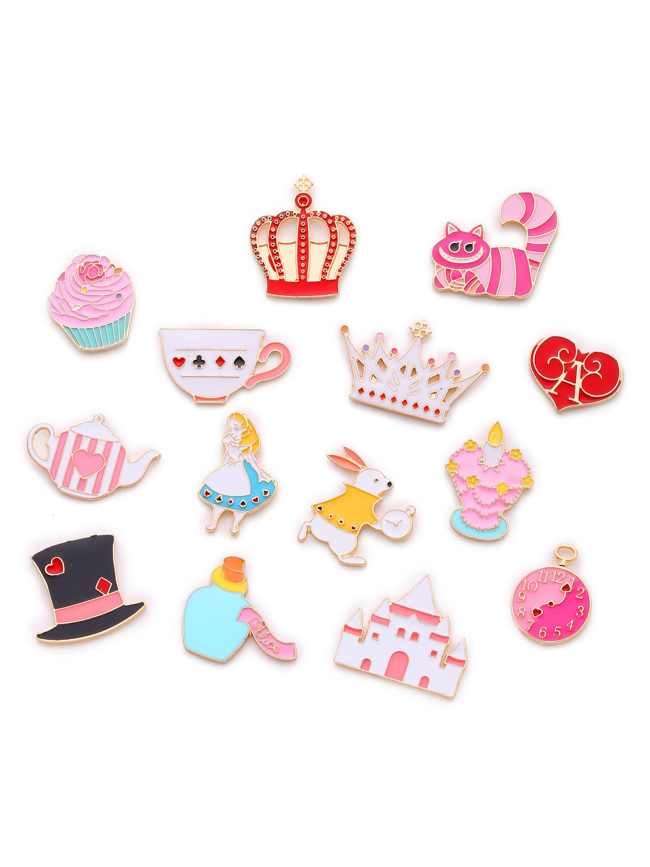 Crown & Cat Design Cute Brooch Set