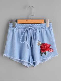 Rose Patch Shirred Waist Raw Hem Shorts