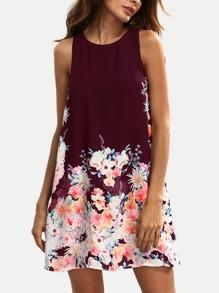 Floral Print Keyhole Back Swing Tank Dress