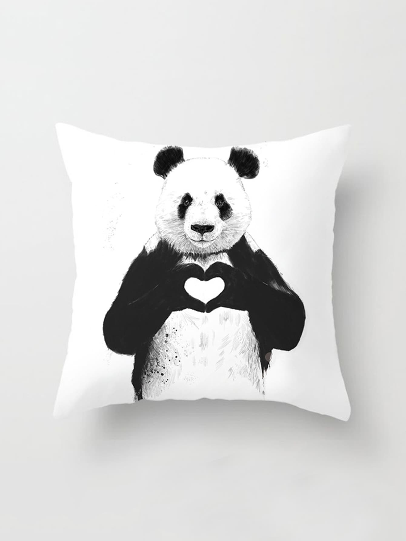 Panda Print Linen Pillowcase Cover