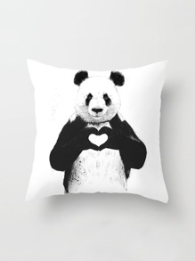 Panda Print Linen Pillowcase Cover