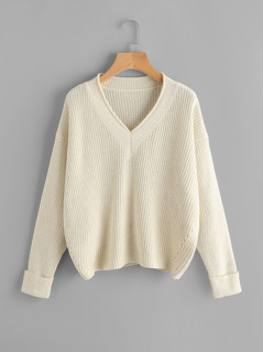 Drop Shoulder Roll Sleeve Jumper