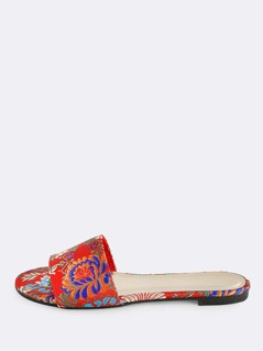 Colorful Embroidered One Band Slide RED