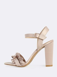 Ruffle Band Ankle Strap Heels CHAMPAGNE