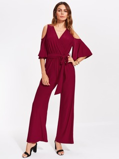 Open Shoulder Fluted Sleeve Surplice Jumpsuit