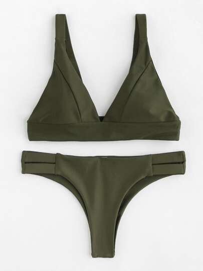 Bikini Set mit Cut Out Leiter