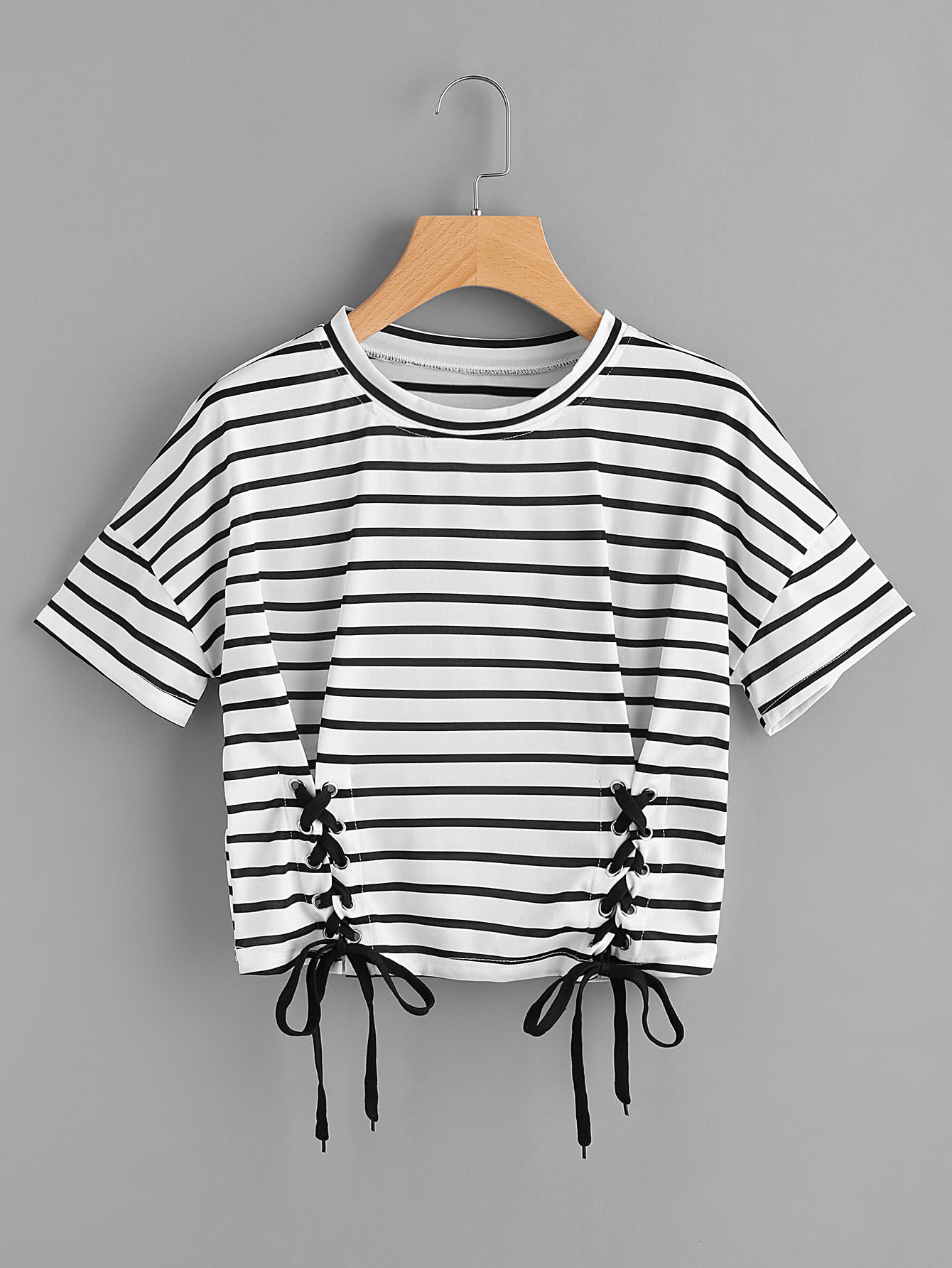 Striped Grommet Lace Up Dropped Shoulder Top striped grommet lace up dropped shoulder top