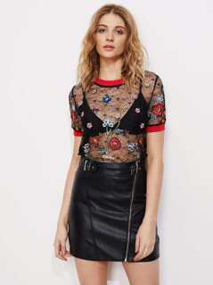 Contrast Rib Trim Botanical Embroidered Lace Top