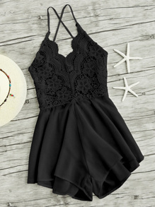 Lace Panel Criss Cross Backless Romper