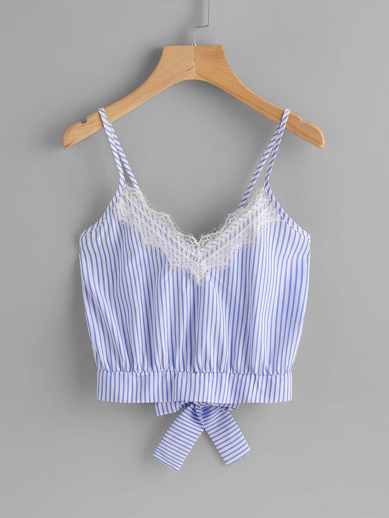 Vertical Striped Split Bow Tie Back Cami Top все цены