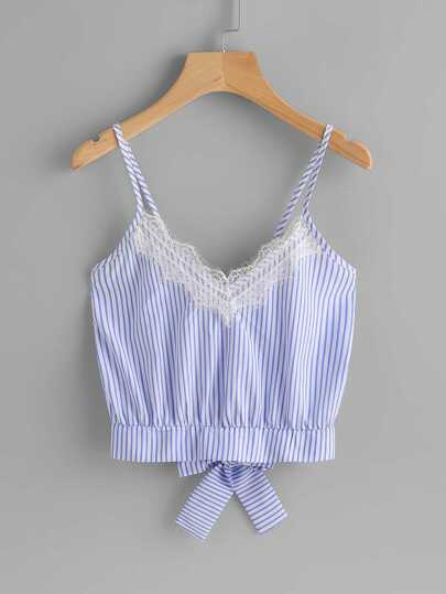 Vertical Striped Split Bow Tie Back Cami Top