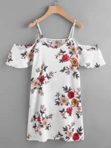 Random Florals Cold Shoulder Dress