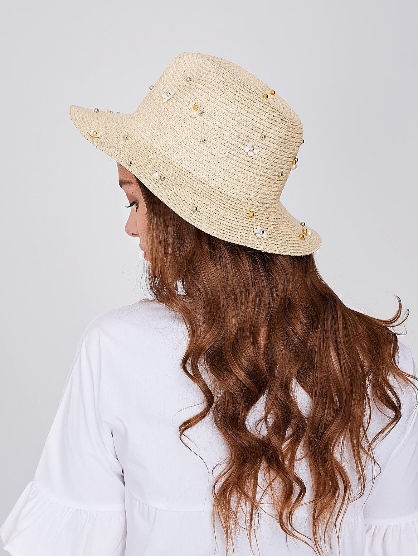 Фото Beaded Decor Straw Hat. Купить с доставкой