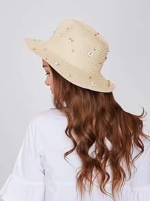 Beaded Decor Straw Hat