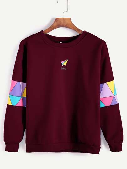 Paper Airplane Print Patchwork Trim Sweatshirt