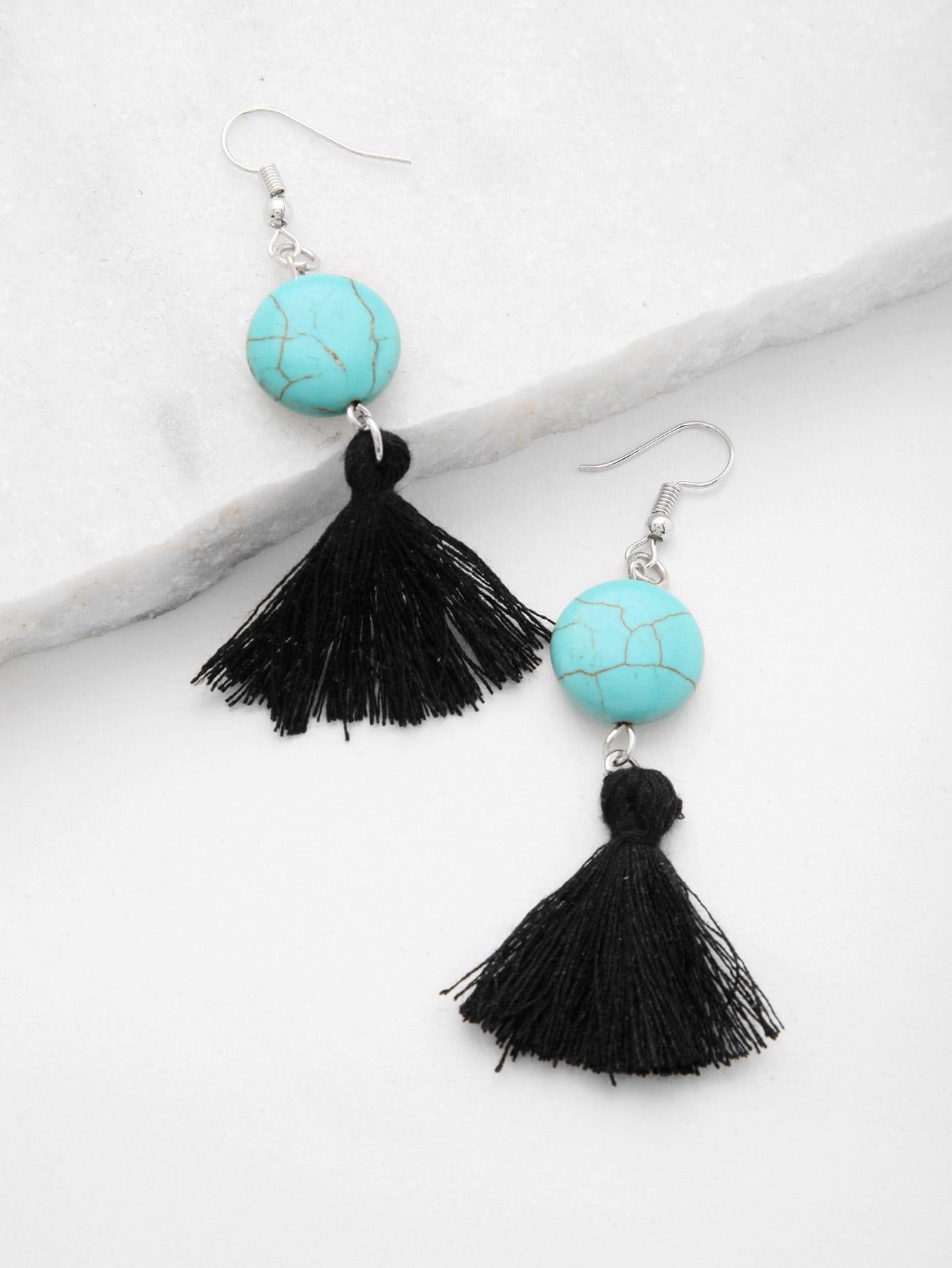 Фото Tassel Drop Earrings With Gemstone. Купить с доставкой