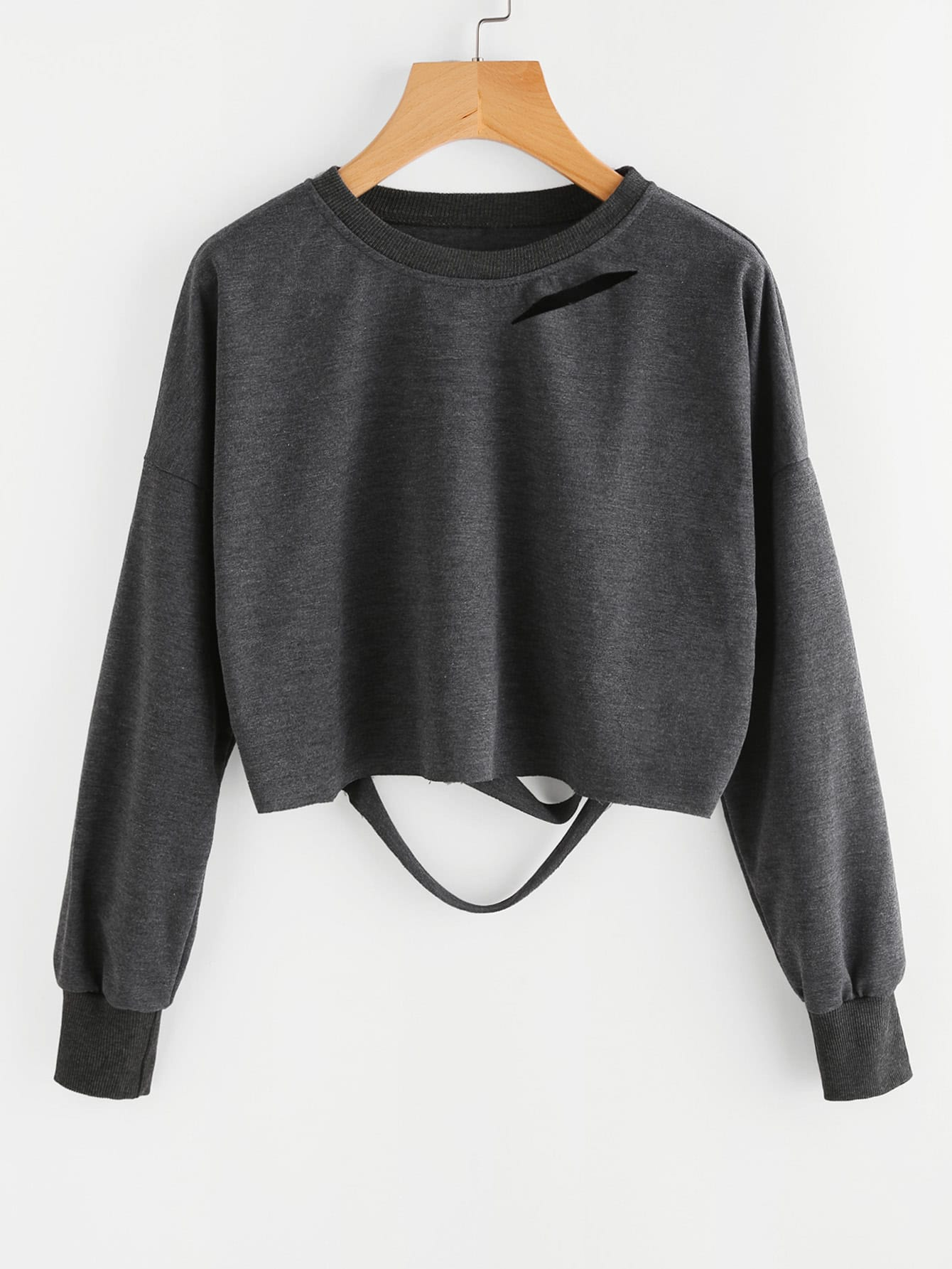 Dark Grey Drop Shoulder Cut Out Crop T-shirt цена и фото
