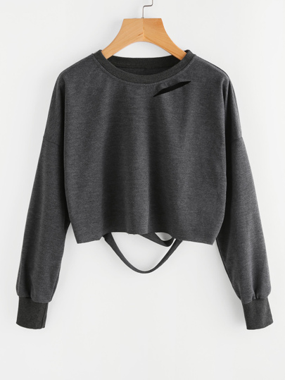 Dark Grey Drop Shoulder Cut Out Crop T-shirt