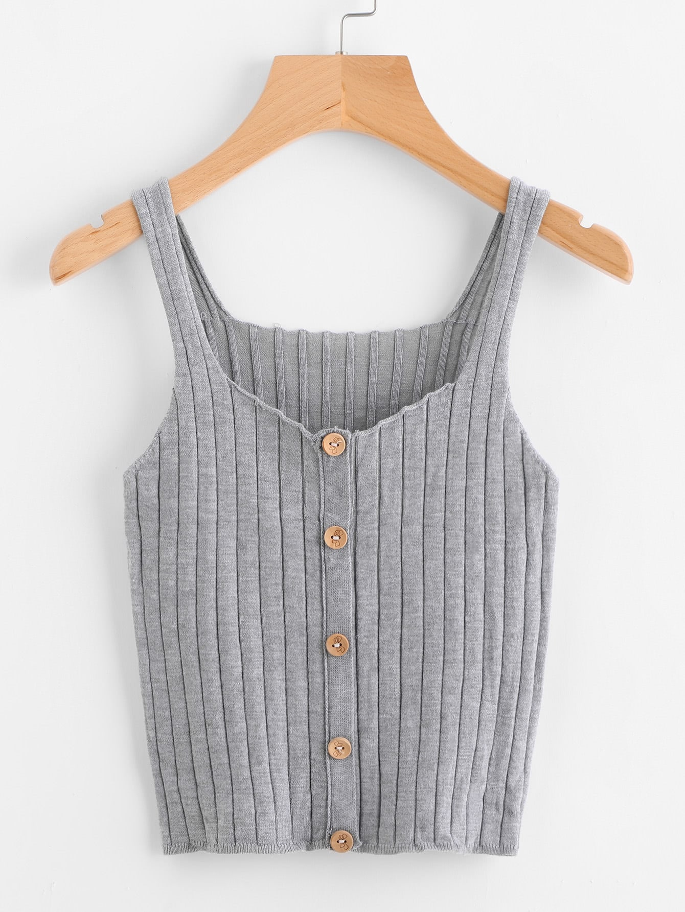 Button Front Rib Knit Top vest170712451