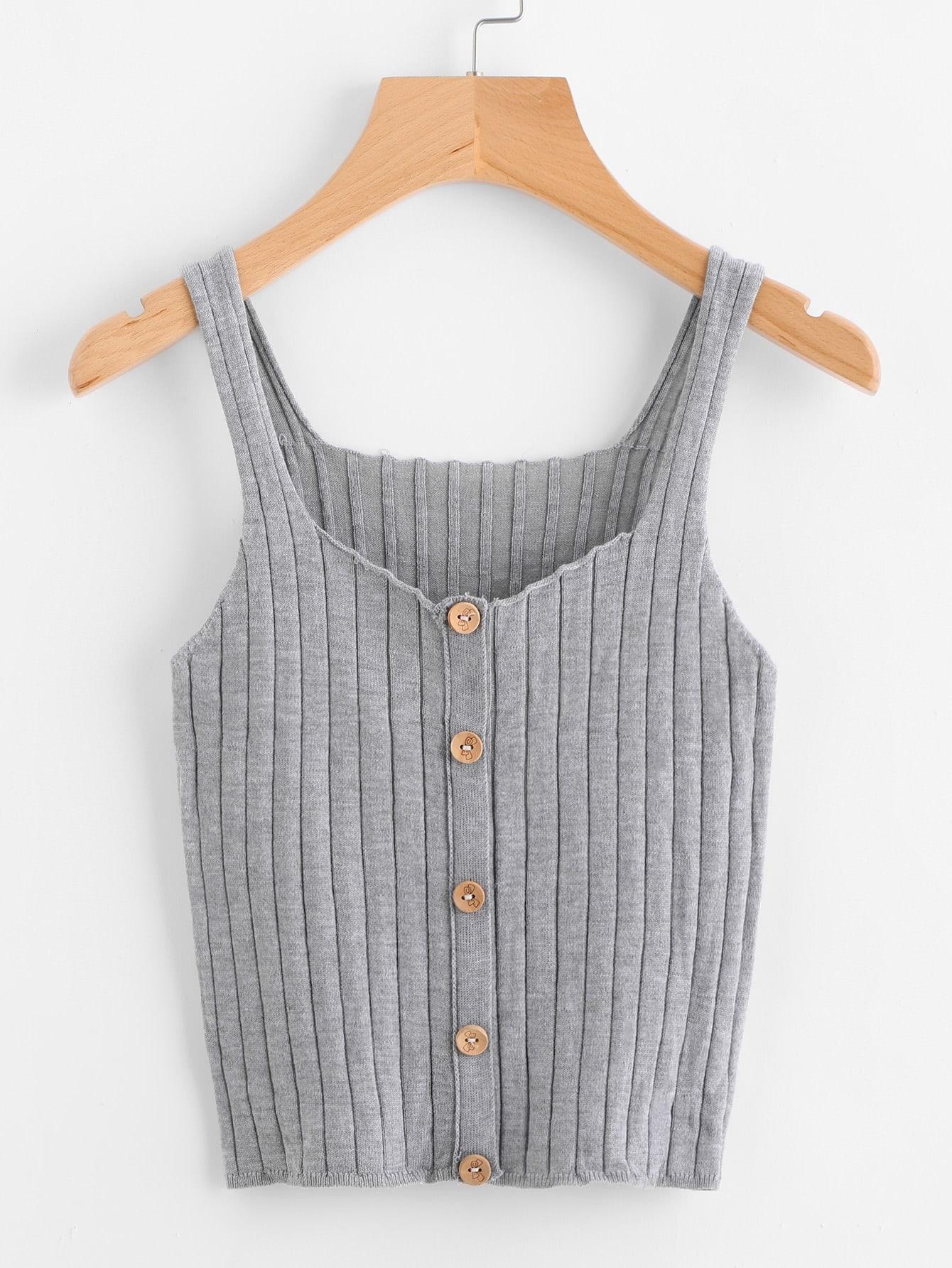 Button Front Rib Knit Top vest170712451