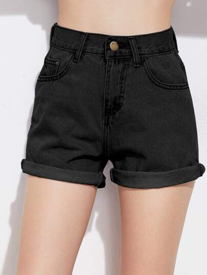 Short de denim con bajo enrollado