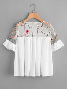 Flower Embroidered Illusion Neck Box Pleated Top