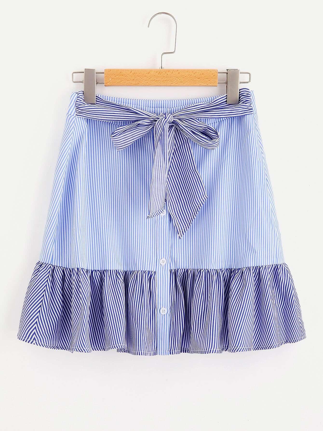 Фото Self Belted Frill Trim Mixed Stripe Skirt. Купить с доставкой